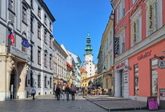 Michalska street and Michalska Brana (Michael's Gate) in Bratislava Stock Images