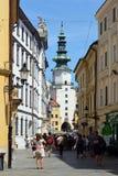 Michalska ulica i Michael ` s brama w - Obrazy Royalty Free