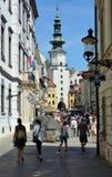 Michalska ulica i Michael ` s brama w - Obrazy Stock