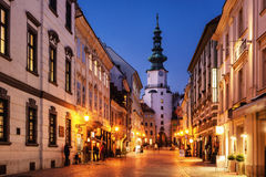 Micheal tower in Bratislava, Slovakia at night royalty free stock image