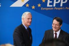 Michel Barnier e Nicos Anastasiades Fotografia Stock Libera da Diritti