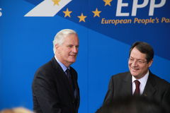 Michel Barnier and Nicos Anastasiades. Michel Barnier, European Commissioner for Internal Market and Services and Nicos Anastasiades, Candidate for President of royalty free stock photography