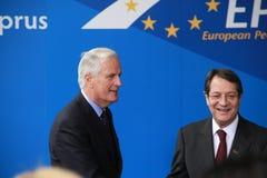 Michel Barnier y Nicos Anastasiades Imágenes de archivo libres de regalías