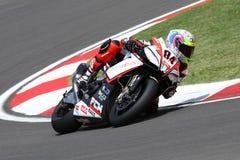 Michel Fabrizio #84 on Aprilia RSV4 1000 Factory Red Devils Roma Superbike WSBK stock photography