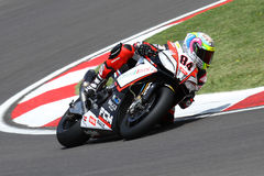 Michel Fabrizio #84 on Aprilia RSV4 1000 Factory Red Devils Roma Superbike WSBK Royalty Free Stock Photo