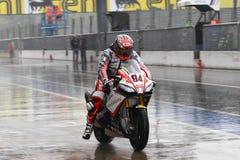 Michel Fabrizio #84 nos diabos 1000 vermelhos da fábrica de Aprilia RSV4 Roma Superbike WSBK Fotos de Stock Royalty Free
