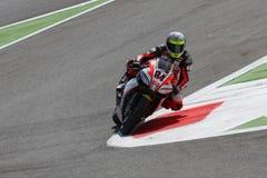 Michel Fabrizio #84 nos diabos 1000 vermelhos da fábrica de Aprilia RSV4 Roma Superbike WSBK Imagens de Stock Royalty Free