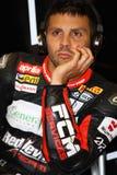 Michel Fabrizio #84 på röda jäklar 1000 för Aprilia RSV4 fabrik Roma Superbike WSBK Arkivfoton