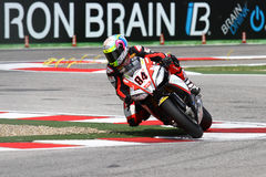 Michel Fabrizio #84 sui diavoli rossi 1000 della fabbrica di Aprilia RSV4 Roma Superbike WSBK fotografia stock libera da diritti