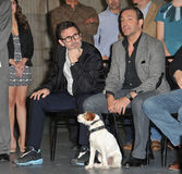Michel Hazanavicius. The Artist director Michel Hazanavicius & stars Jean DuJardin & Uggie on Stage 5 at Red Studios in Hollywood where the cast & crew of The Royalty Free Stock Images