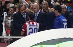 Michel Platini,Juanfran and CourtoisFinal Champion League 2014 Royalty Free Stock Photo