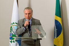Michel Temer. Rio de Janeiro, Brazil - september 15, 2017:  President of Brazil Michel Temer during Inauguration at the radiosurgery center of the State Brain Royalty Free Stock Images