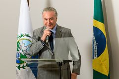 Michel Temer. Rio de Janeiro, Brazil - september 15, 2017:  President of Brazil Michel Temer during Inauguration at the radiosurgery center of the State Brain Royalty Free Stock Photography