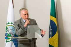 Michel Temer. Rio de Janeiro, Brazil - september 15, 2017:  President of Brazil Michel Temer during Inauguration at the radiosurgery center of the State Brain Royalty Free Stock Photo