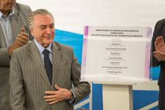 Michel Temer. Rio de Janeiro, Brazil - september 15, 2017:  President of Brazil Michel Temer during Inauguration at the radiosurgery center of the State Brain Stock Image