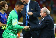 Michel Vorm and Sep Blatter Coupe du monde 2014 Stock Photography
