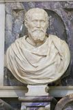 Michelangelo - Bust in Santa Croce, Florence. Sculpture of the Famous Renaissance Sculptor Michelangelo at the Funerary Monument in the Basilica Santa Croce stock photography