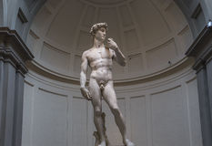 Michelangelo David staty i Accademia, Florence, Italien Arkivbilder