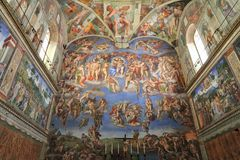 Michelangelo fresco in The Sistine Chapel, Vatican. The Last Judgment by Michelangelo. The Sistine Chapel, Vatican City Royalty Free Stock Image
