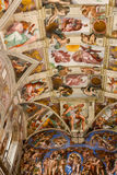 Michelangelo God and jesus paintings at Chapel, Roma. VATICAN CITY - April 27, 2015 Michelangelo paintings at Sistine Chapel ( Cappella Sistina ) - Vatican, Roma royalty free stock image