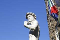 Michelangelo`s David. In Piazza Della Signoria with a blue sky background Stock Photo