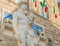 Michelangelo's David in the Piazza della Signoria in Florence Royalty Free Stock Photography