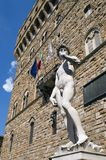 Michelangelo`s David statue. Copy of Michelangelo`s David statue near Palazzo Vecchio, Florence, Italy Royalty Free Stock Image