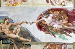 Michelangelo's frescoes in Sistine Chapel. Michelangelo's frescoes (The Creation of Adam) in Sistine Chapel, Vatican City Royalty Free Stock Image