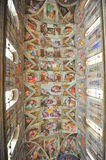 Michelangelo's masterpiece: Sistine Chapel. Mural paintings representing Bible episodes painted by the famous Michelangelo Buonaroti on the ceiling of the Stock Image