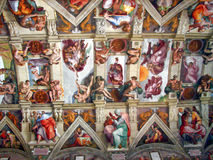 Michelangelo's paintings at The Sistine Chapel. The Sistine Chapel ceiling, painted by Michelangelo between 1508 and 1512, is a cornerstone work of High Royalty Free Stock Photo