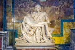 Michelangelo`s Pieta. In St. Peter`s Basilica in Rome Stock Photos
