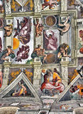 Michelangelo s Sistine Chapel paintings. Mural paintings representing Bible episodes painted by the famous Michelangelo Buonaroti on the ceiling of the Sistine Royalty Free Stock Image
