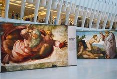 Michelangelo ` s Sistine kaplicy Up Zamknięta wystawa Westfield bierze miejsce przy world trade center Oculus w Nowy Jork Zdjęcie Stock
