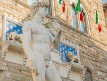 Michelangelos David i piazzadellaen Signoria i Florence Royaltyfri Fotografi