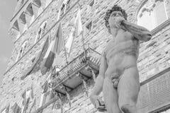 Michelangelos David i piazzadellaen Signoria i Florence Arkivfoton