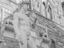 Michelangelos David i piazzadellaen Signoria i Florence Arkivbild