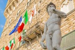 Michelangelos David im Marktplatz della Signoria in Florenz Lizenzfreies Stockbild