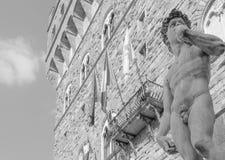 Michelangelos David im Marktplatz della Signoria in Florenz Stockfotos