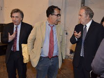 Michele Santoro, Sandro Ruotolo and Carlo Freccero. Personalities of the italian television, talking in Perugia, during the International Journalism Festival stock photography