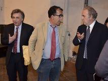 Michele Santoro, Sandro Ruotolo and Carlo Freccero stock photography