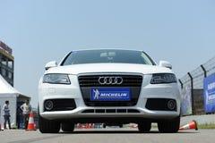 Michelin Audi car tire on the runway Stock Photos