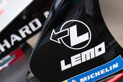 Michelin and Lemo sponsors. Berlin, Germany - May 25, 2019: Sign of Michelin and Lemo connectors, sponsors on a race car participating in the ABB FIA Formula E royalty free stock image