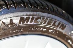 Michelin logo on a tire stock photos