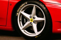 Michelin logo on a tire. Gomel, Belarus. Gomel, Belarus - April 10, 2016: Ferrari car wheel with tire Michelin Royalty Free Stock Photography