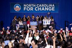 Michelle Obama. Speaking in front of African American audience during Barack Obama Presidential Rally, October 29, 2008 in Rocky Mount High School, North Stock Photography