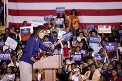 Michelle Obama. Speaking in front of African American audience during Barack Obama Presidential Rally, October 29, 2008 in Rocky Mount High School, North Stock Image