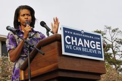 Michelle Obama. ASHEVILLE, NC - May. 2: Michelle Obama, the wife of presidential candidate Barack Obama speaking at a podium during a campaign rally at the Royalty Free Stock Photos