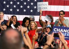 Michelle Obama and Dr. Jill Biden royalty free stock images