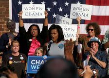 Michelle Obama speech. Michelle Obama, wife of Senator and Presidential candidate Barack Obama, speaks at the University of Virginia Royalty Free Stock Image