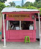 Miches, Dominican Republic, 16 april, 2019 / Typical, local wooden shack cafe or cafeteria on the road stock photos